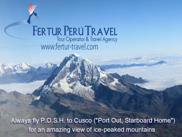 Enjoy amazing views off majestic Andean glaciers and ice-peaks on your flight to Cusco.