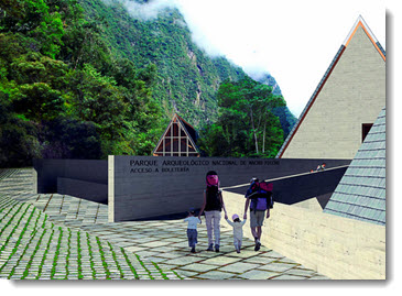 Architectural illustration of what the new ticket office and entrance to Machu Picchu would look like
