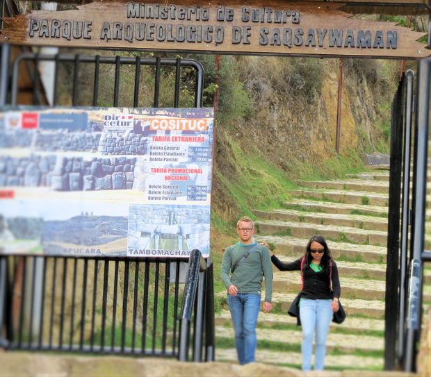 The entrance for Sacsayhuamán closest for tourists who want to walk to or from San Blas.