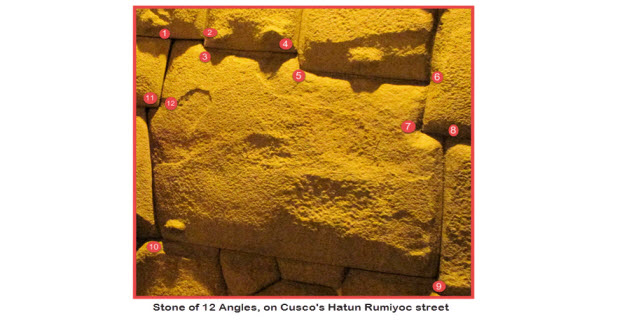 Famous 12 angle Inca stone topped but not overshadowed by 13 angle stone