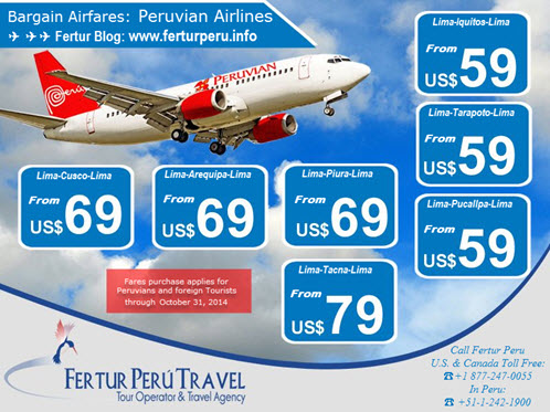 Cheap flights in October with Peruvian Airlines to Cusco, Arequipa, Iquitos, Tarapoto, Pucallpa and Tacna
