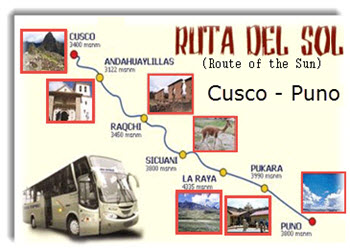 Ruta del Sol, or Route of the Sun, from Cusco to Puno. Travel in comfort with stops along the way for guided tours of Inca and pre-Inca archeaological sites, Andean attractions and to appreciate incredible scenic beauty.