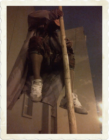 Mime held up by the bamboo pole in aparent defiance of gravity