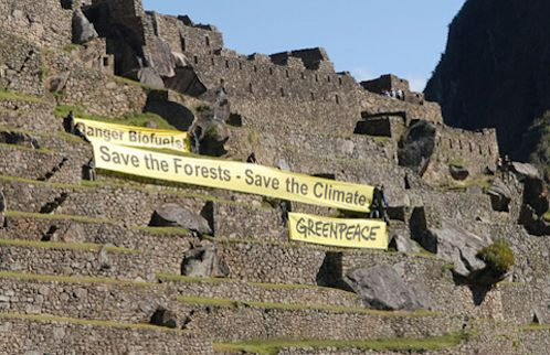 GreenPeace unfurls pro-solar message at Machu Picchu ahead of United Nations Conference on Climate Change in Lima - COP20