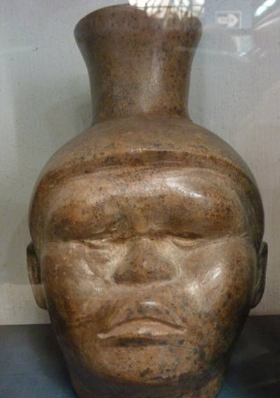 Moche portrait vessel with surprisingly Asian features:  See it with Fertur Peru Travel at the Larco Museum