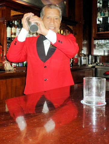 Eloy Cuadros, renowned head barman from the legendary Hotel Maury bar, mixes up the perfect pisco sour.