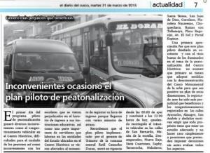 Pilot pedestrian project has rocky start in Cusco