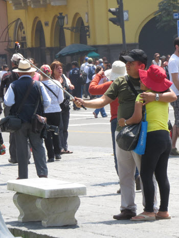 Selfie Stick couple at the Plaza de Armas