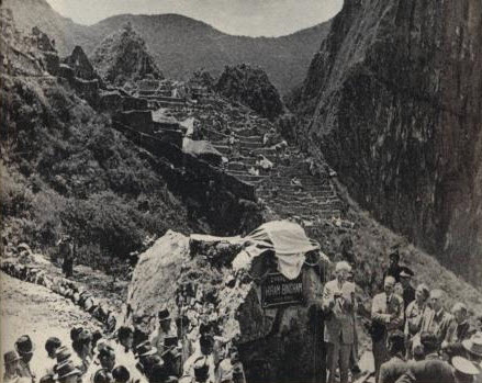 """Hiram Bingham in October 1948 inaugurates the """"Hiram Bingham Highway, 37 years after his scientific discovery of the ruins in 1911."""
