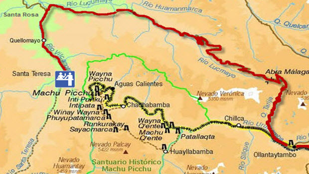 Entrance route to Machu Picchu from Santa Teresa