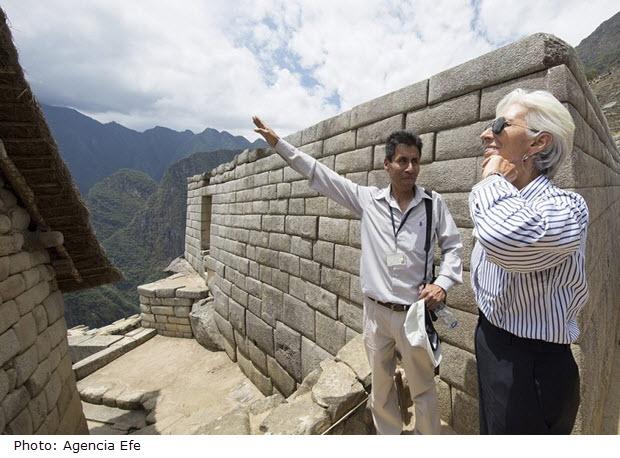 Dignitary Christine Lagarde gets a private tour of Machu Picchu.