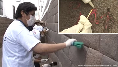 Volunteers restore ancient Inca and colonial era stone walls in Cusco