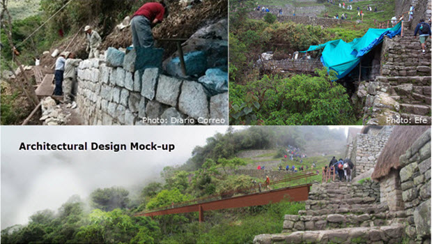 Reconstruction at Machu Picchu begins, starting with exit ramp