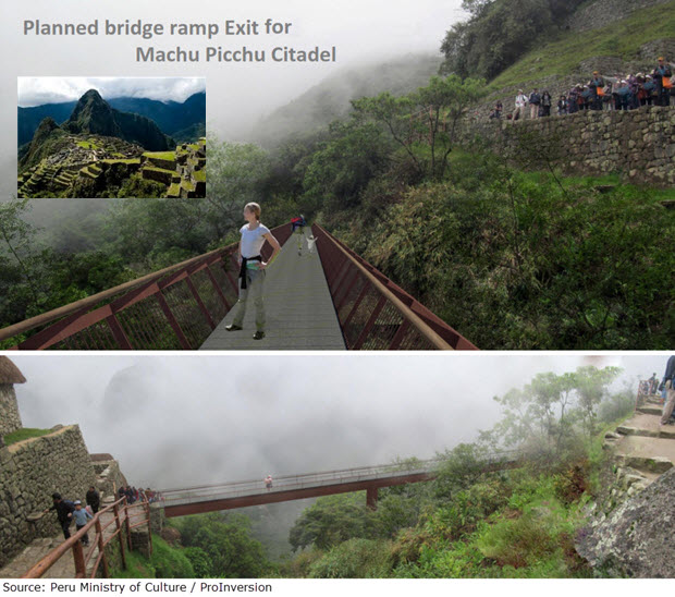 Planned bridge ramp exit for Machu Picchu