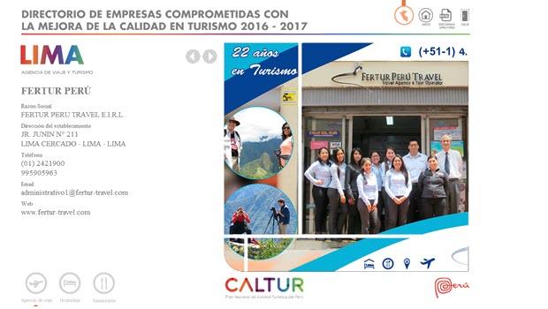 Fertur Peru Travel Again Earns CALTUR Seal of Tourism Quality