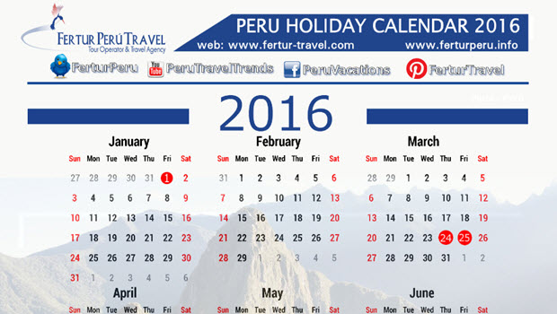 Peru 2016 holiday calendar – Download
