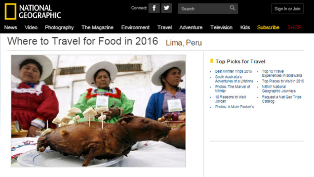 Lima Makes National Geographic Top 10 Food Destination For 2016