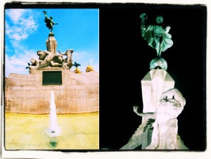 Edmund Müller's baroque marble sculpture in the main plaza of Trujillo Peru