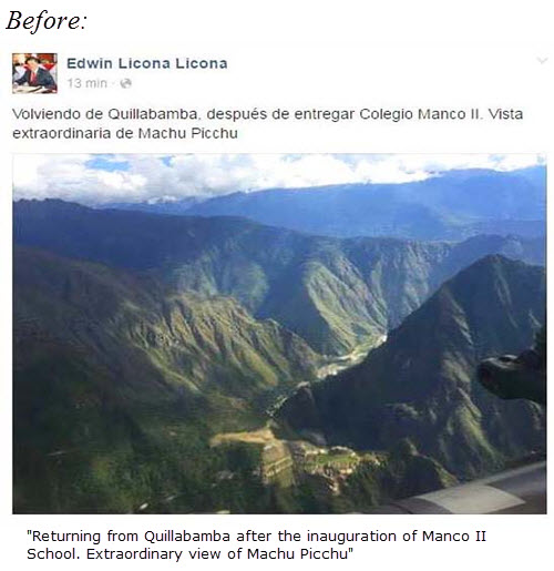 Cusco Regional Governor admires Machu-Picchu from presidential helicopter