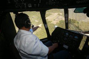 Peru President Ollanta Humala pointing out Peru's premier archaeological site, Machu Picchu