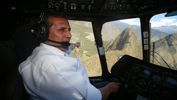 President Ollanta Humala pilots his helicopter, possibly for a spin around Machu Picchu