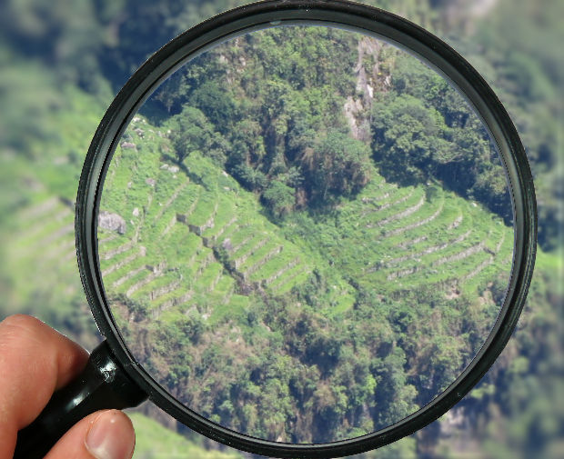 Andenes Orientales of Machu Picchu magnified