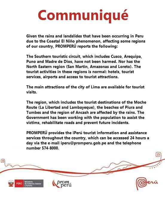 Translated Communique from Peru's National Travel Board, PromPerú, about Coastal El Niño