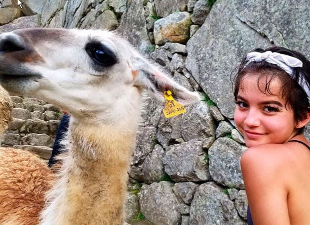 Actor Isabela Moner is 15 years old and is the daughter of a Peruvian mom and American dad. She visited Machu Picchu in March 2017.