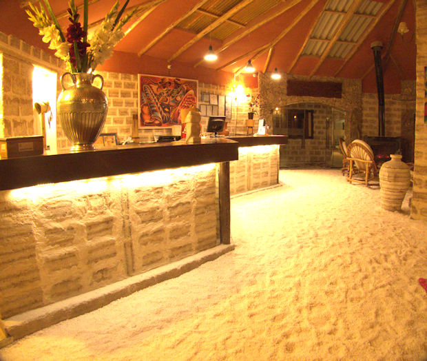Hotel Luna Salada, remarkably constructed entirely of salt blocks from the Salar de Uyuni.