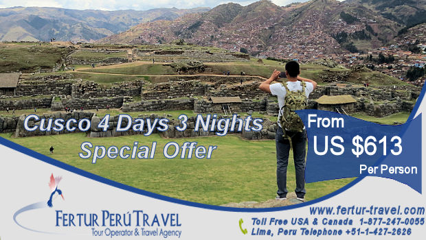 Budget traveler breaks away from his Cusco tour group to snap a panoramic photo of the Inca temple fortress of Sacsayhuaman