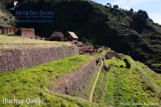 "The Inca terraces of Huchuy Qosquo, which in Quechua means ""Little Cusco"""