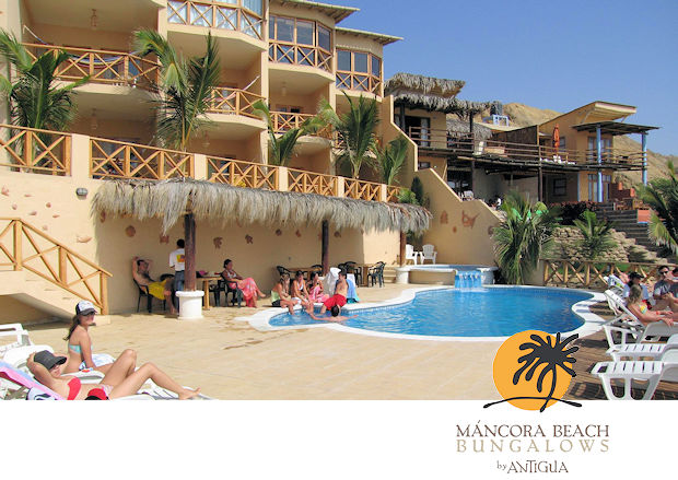 Poolside view of Mancora Beach Bungalows & Suites by Antigua in Mancora, Peru