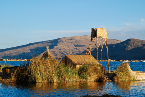The artificial islands at Lake Titicaca