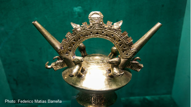 An Inca-era gold relic on display at the Gold Museum of Lima, Peru