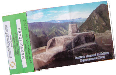 An old entry ticket into Machu Picchu