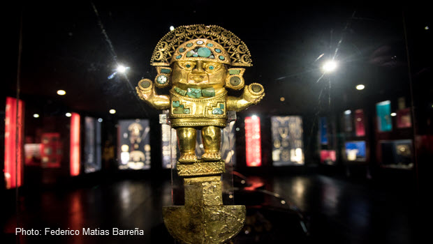 A pre-Inca Tumi ceremonial knife on display at the Gold Museum of Lima, Peru