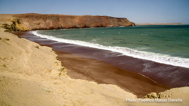 Red Sand Beach in Peru: Playa Roja in Paracas National Reserve