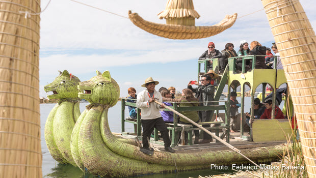 Totora reed boat on Lake Titicaca