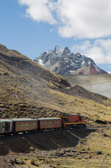 Huancayo-bound train approaches Ticlio and will soon cross the Continental divide at 15,681 f.a.s.l. in Peru's Central Andes. Photo: Fertur Peru Travel © Manuel Medir Roca