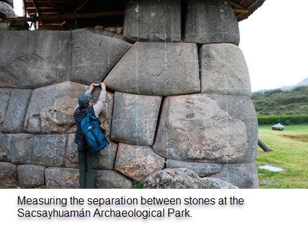 A member of the Cusco-Pata Research Project measure the separation between stone blocks at Sacsayhuaman.