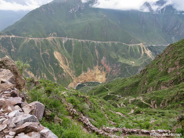 Panoramic verdant view of the Colca Canyon
