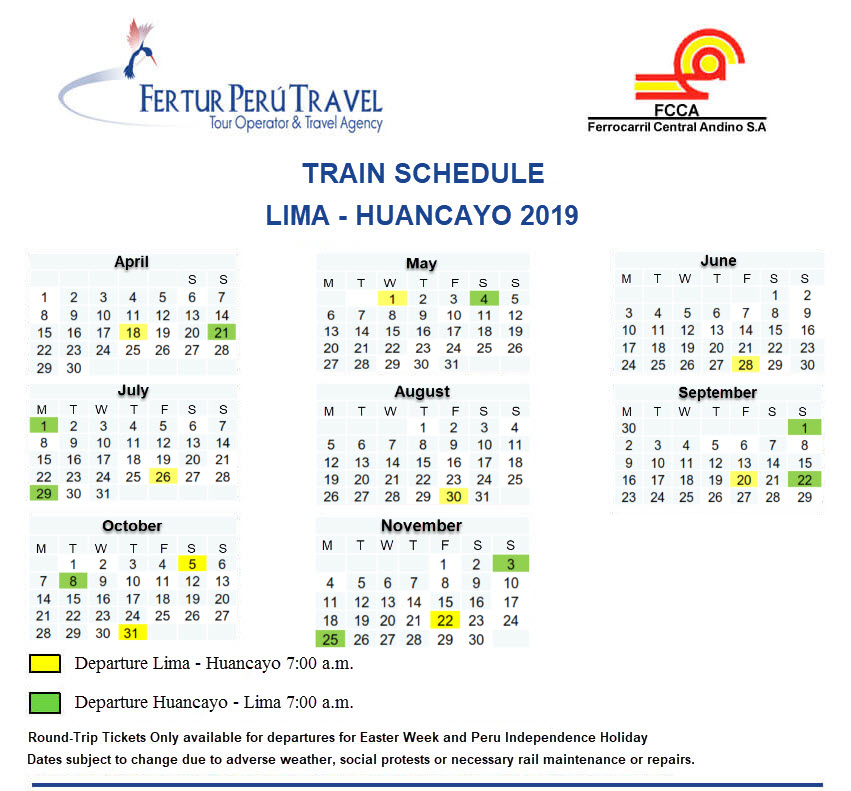 Calendar of Lima-Huancayo Train for 2019 ~ Reserve your ticket early!