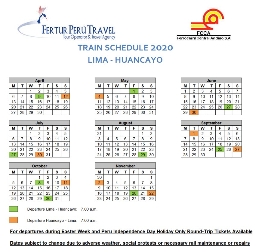 Calendar of Lima-Huancayo Train for 2020 ~ Reserve your ticket early!