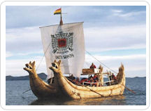 Plying the waters of Lake Titicaca aboard a totora reed sail boat as part of your Peru vacation package.
