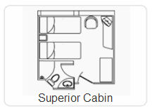 Diagram of the Superior Cabin on the M/V Galapagos Legend.
