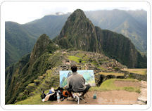 Man painting in Machu Picchu
