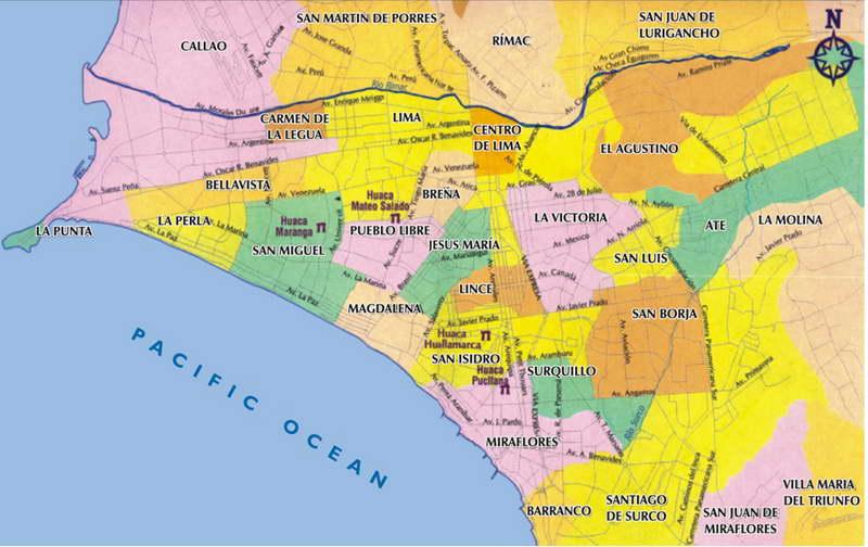 Mapa turstico de Lima Per  Informacin de Lima