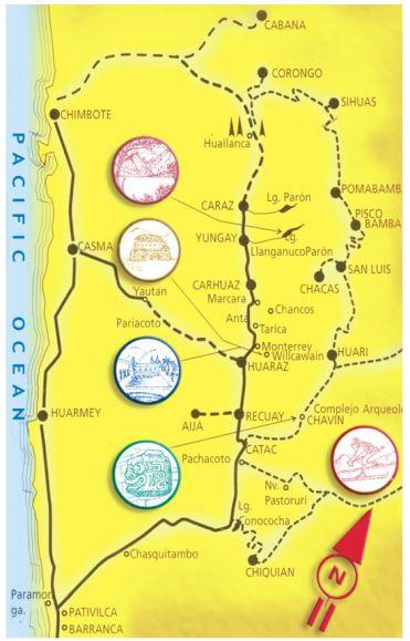 Huaraz Map: Recuay, Catac, Chiquian, Pativilca, Harmey, Casma, Huallanca, Caraz, Yungay, Carhuaz, Marcara, Anta, Pomabamba, Pisco Bamba, San Luis, Chacas, Huari, Chavin