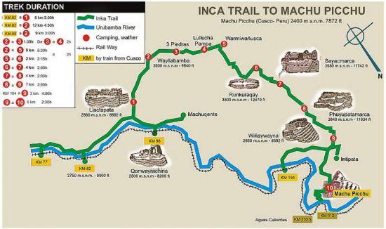Caminos Del Inca Turismo Mapa Del Camino Inca en Cusco