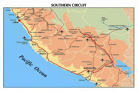 Map of the Peru Southern Circuit for a 16-day tour of Lima, the Ballestas Islands, Arequipa's Colca Canyon, Lake Titicaca, Cuzco's Sacred Valley, and Machu Picchu.